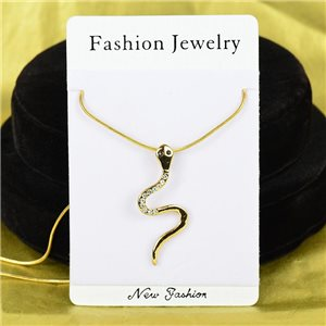 Necklace Rhinestones Pendant IRIS Gold Color Chain snake mesh L40-45cm 75860