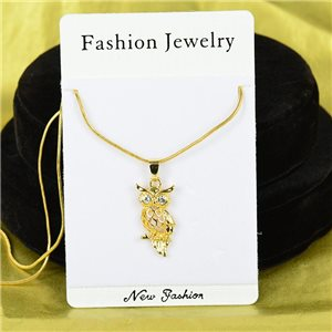 Necklace Rhinestones Pendant IRIS Gold Color Chain snake mesh L40-45cm 75876