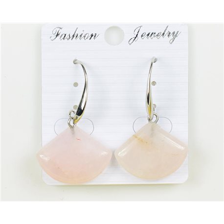 1p Earrings 20mm Natural Stone Rose Quartz on Silver Metal 75960