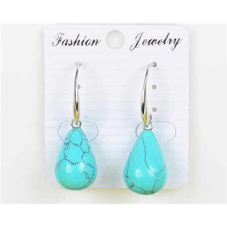 1p Earrings 20mm Natural Stone Turquoise on Silver Metal 75973