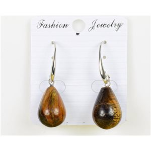 1p earrings 20mm natural stone Tiger eye on metal Silver 75974
