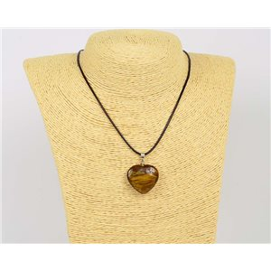Necklace pendant 25mm natural stone Tiger eye on waxed cord L43-47cm 75915