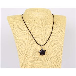 Pendant necklace 20mm natural stone Obsidian on waxed cord L43-47cm 75917