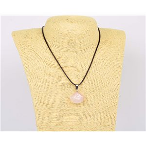 Pendant necklace 20mm Natural Stone Rose Quartz on waxed cord L43-47cm 75924