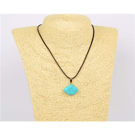 Pendant Necklace 20mm natural stone Turquoise on waxed cord L43-47cm 75925