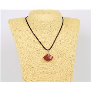 Necklace pendant 20mm natural stone Sandstone on waxed cord L43-47cm 75927