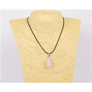 Pendant necklace 25mm natural stone Rose Quartz on waxed cord L43-47cm 75930