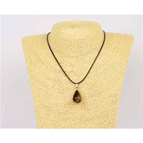 Pendant necklace 20mm natural stone Tiger eye on waxed cord L43-47cm 75938