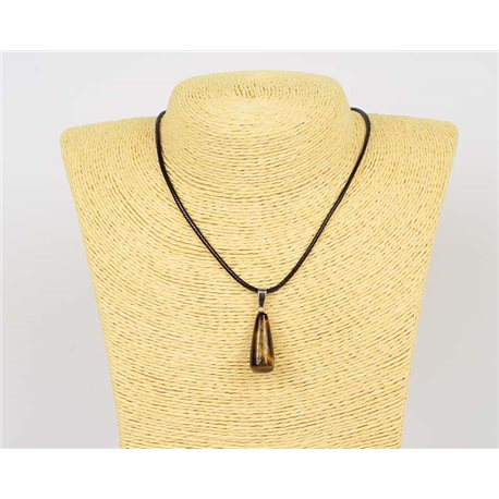 Pendant necklace 25mm natural stone Obsidian on waxed cord L43-47cm 75945