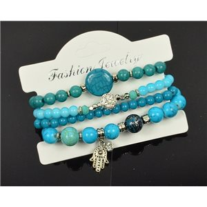 Bracelet CYBELE Manchette 4 rangs Collection Bead Charms et Bijoux sur fil élastic New Collection 76003