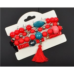 Bracelet CYBELE Cuff 4 Ranks Collection Bead Charms and Jewelry on Elastic Wire New Collection 75984
