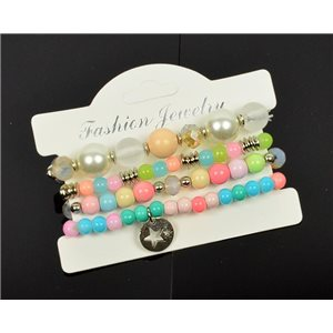 Bracelet CYBELE Cuff 4 Ranks Collection Bead Charms and Jewelry on Elastic Wire New Collection 75988