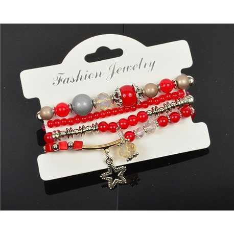 Bracelet CYBELE Cuff 4 Ranks Bead Charms and Jewelery Collection on Elastic Wire New Collection 75989