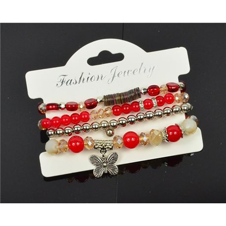 Bracelet CYBELE Cuff 4 Ranks Collection Bead Charms and Jewelry on Elastic Wire New Collection 75992