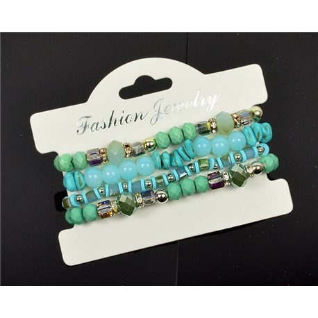 Bracelet CYBELE Cuff 4 rows Collection Bead Charms and Jewelry on elastic thread New Collection 76006