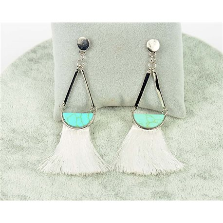 1p earrings with nail New Trends Pompon on metal Silver 76106