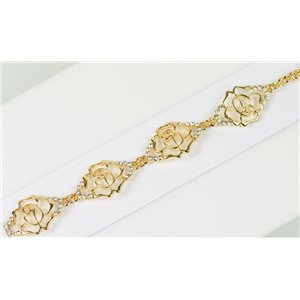 Bracelet métal Gold Color serti de Strass L19 cm The Best Collection Chic 76020