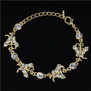 Gold Color metal bracelet set with Rhinestones L19 cm The Best Collection Chic 76030
