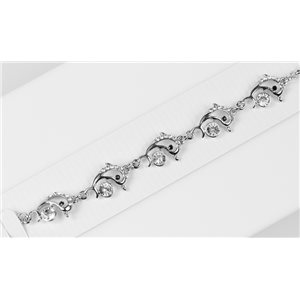 Bracelet métal Silver Color serti de Strass L19 cm The Best Collection Chic 76033