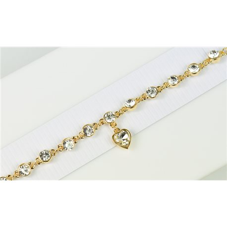 Gold Color metal bracelet set with Rhinestones L19 cm The Best Collection Chic 76036