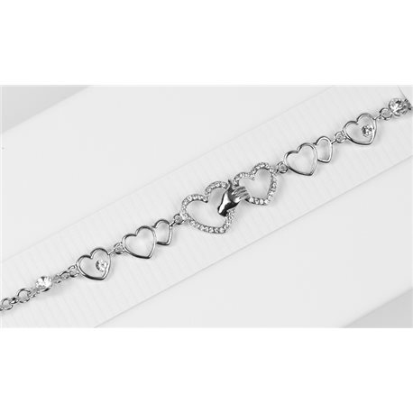Bracelet métal Silver Color serti de Strass L19 cm The Best Collection Chic 76037