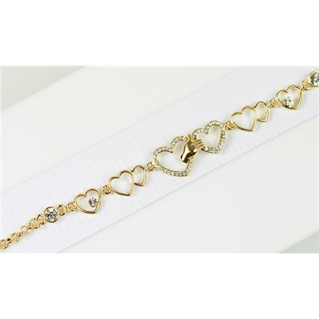 Gold Color metal bracelet set with Rhinestones L19 cm The Best Collection Chic 76038