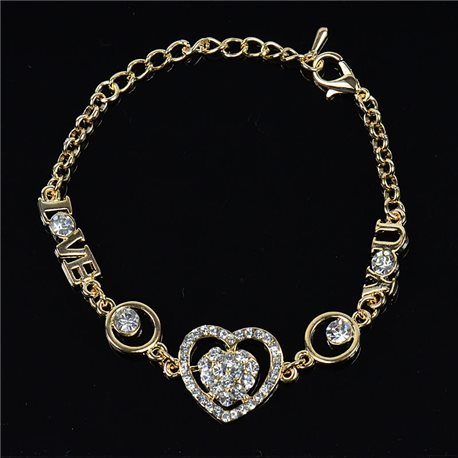 Gold Color metal bracelet set with Rhinestones L19 cm The Best Collection Chic 76042