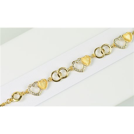 Gold Color metal bracelet set with Rhinestones L19 cm The Best Collection Chic 76044