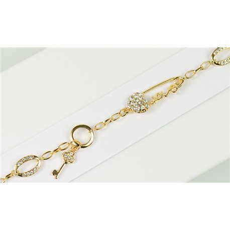 Gold Color metal bracelet set with Rhinestones L19 cm The Best Collection Chic 76046