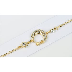 Gold Color metal bracelet set with Rhinestones L19 cm The Best Collection Chic 76010