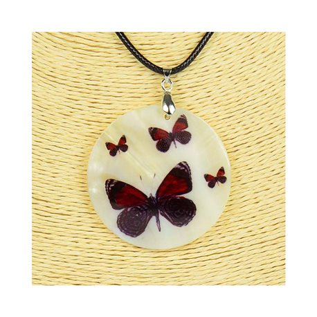 Collier Pendentif 5cm en Nacre naturelle Fashion Design L48cm New Collection 76182