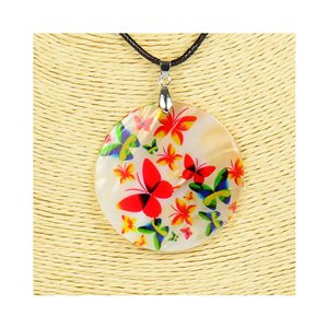 Pendant necklace 5 cm Natural Mother of Pearl Fashion Design L48cm New Collection 76186
