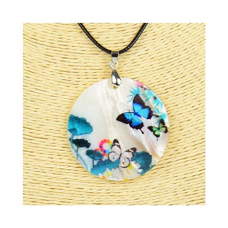 Pendant necklace 5 cm Natural Mother of Pearl Fashion Design L48cm New Collection 76187