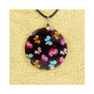 Collier Pendentif 5cm en Nacre naturelle Fashion Design L48cm New Collection 76190