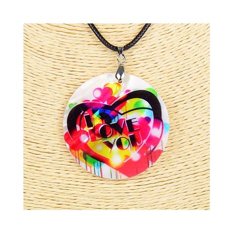 Pendant necklace 5 cm Natural Mother of Pearl Fashion Design L48cm New Collection 76194