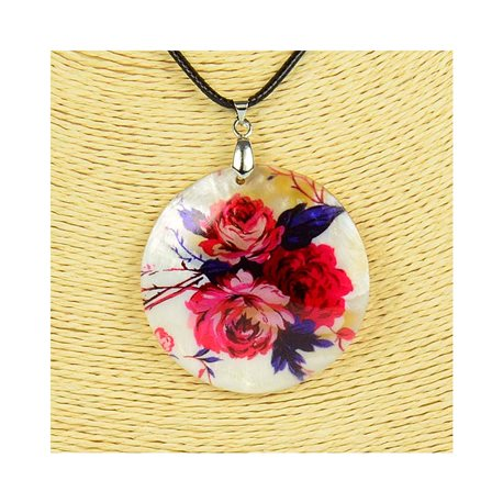 Pendant necklace 5 cm Natural Mother of Pearl Fashion Design L48cm New Collection 76197