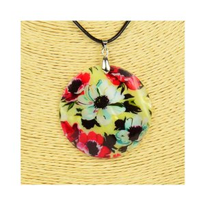 Collier Pendentif 5cm en Nacre naturelle Fashion Design L48cm New Collection 76207