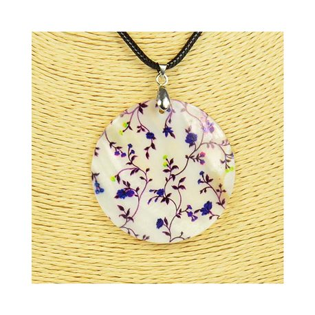 Pendant necklace 5 cm Natural Mother of Pearl Fashion Design L48cm New Collection 76217