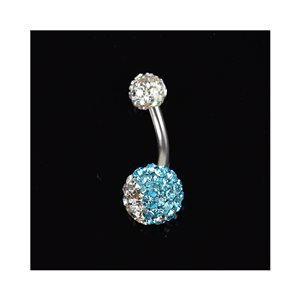 Piercing Banana navel Steel 316L L10mm D1.6 New Collection Rhinestones YING-YANG Blue 68879