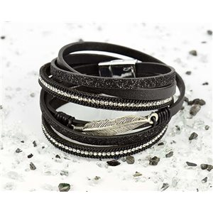 Bracelet manchette Mode Chic aspect Cuir et Strass L38cm fermoir Aimanté New Collection 76263