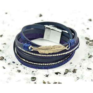 Bracelet manchette Mode Chic aspect Cuir et Strass L38cm fermoir Aimanté New Collection 76268