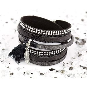 Bracelet manchette Mode Chic aspect Cuir et Strass L38cm fermoir Aimanté New Collection 76269