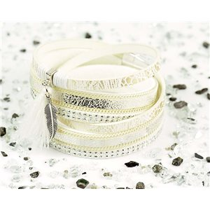 Cuff Bracelet Fashion Chic Leather Look and Rhinestone L38cm Magnetic clasp New Collection 76270