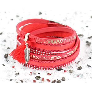 Bracelet manchette Mode Chic aspect Cuir et Strass L38cm fermoir Aimanté New Collection 76272