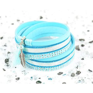 Bracelet manchette Mode Chic aspect Cuir et Strass L38cm fermoir Aimanté New Collection 76273
