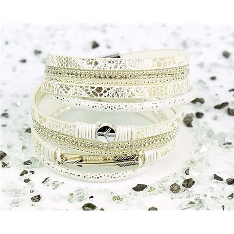 Cuff Bracelet Fashion Chic Leather Look and Rhinestone L38cm Magnetic clasp New Collection 76276