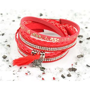 Bracelet manchette Mode Chic aspect Cuir et Strass L38cm fermoir Aimanté New Collection 76284