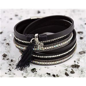 Cuff Bracelet Fashion Chic Leather Look and Rhinestone L38cm Magnetic clasp New Collection 76287