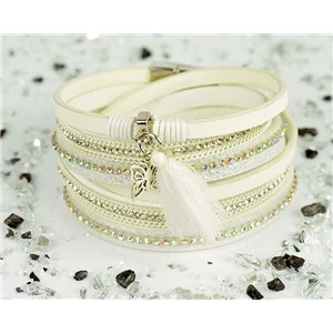 Cuff Bracelet Fashion Chic Leather Look and Rhinestone L38cm Magnetic Clasp New Collection 76288