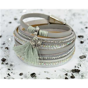 Cuff Bracelet Fashion Chic Leather Look and Rhinestone L38cm Magnetic clasp New Collection 76289